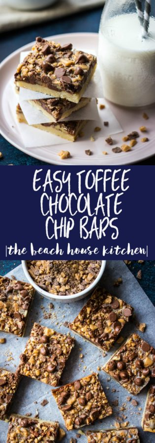 Long pin for Pinterest of Easy Toffee Chocolate Chip Bars.