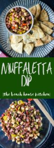 A long Pinterest pin with an overhead photo of Muffuletta Dip on a tray surrounded with pitas.