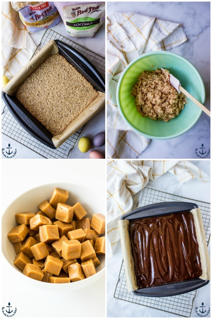 Collage of four photos of each layer for Gluten-Free Coconut Dream Bars