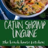 Long Pinterest Pin of Cajun Shrimp Linguine