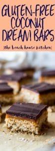 Long Pinterest Pin for Gluten-Free Coconut Dream Bars