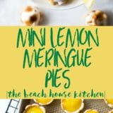 Long Pinterest Pin of Mini Lemon Meringue Pies