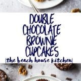 Long Pinterest Pin for Double Chocolate Brownie Cupcakes