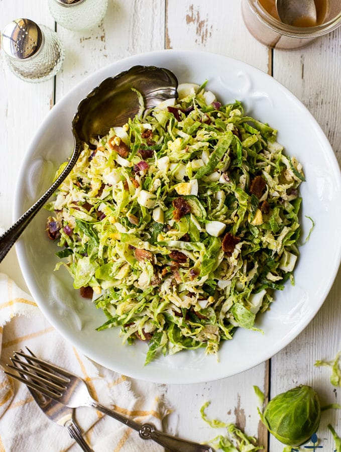 Brussels Sprouts Salad with Warm Bacon Dressing