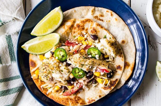 Blackened Fish Tacos with Southwest Slaw