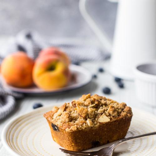 Peach Blueberry Cornmeal Muffins