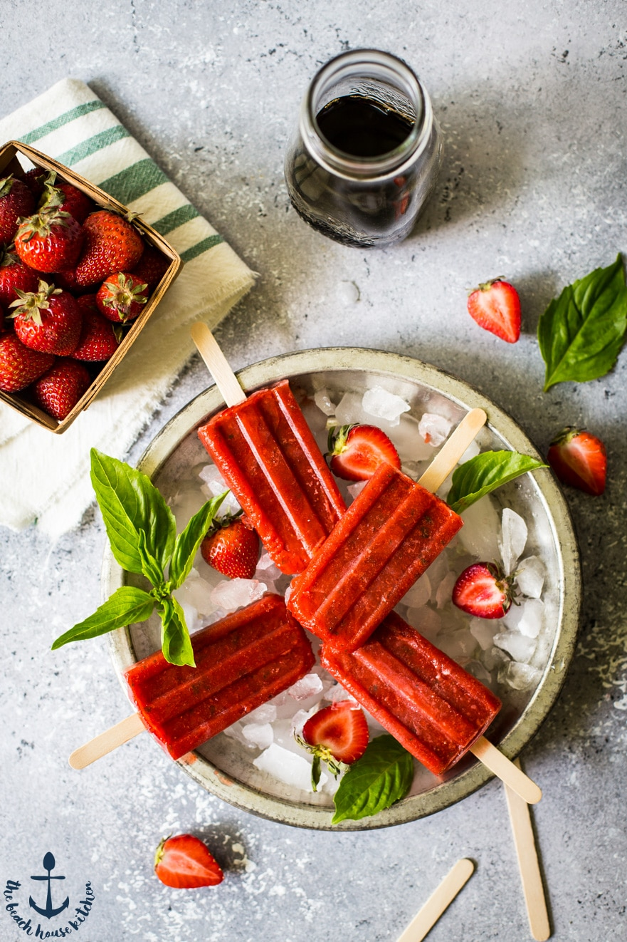 Balsamic Strawberry with Basil Popsicles