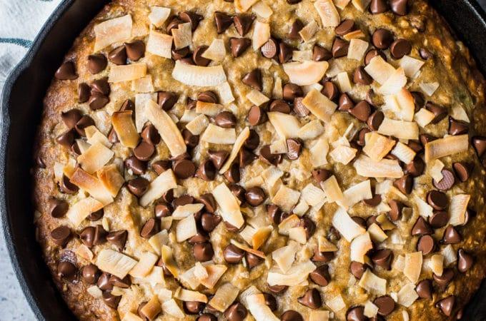 Coconut Chocolate Chip Skillet Banana Bread
