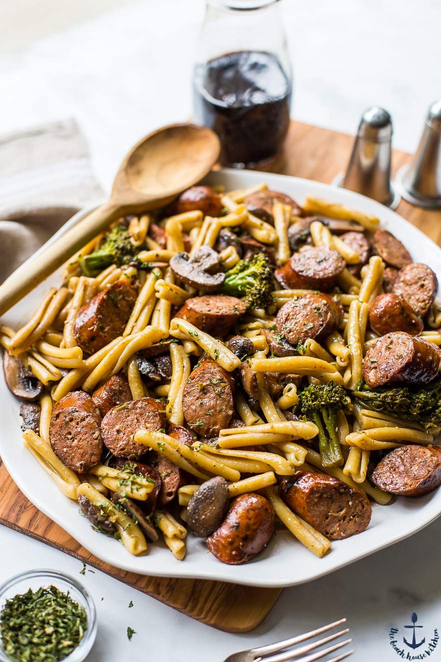 Balsamic Pasta with Chicken Sausage, Broccoli and Mushrooms