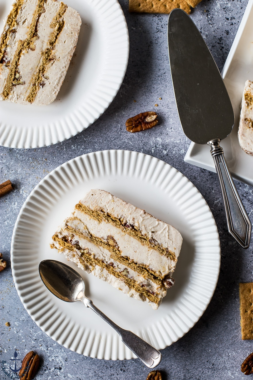 Pecan Cinnamon Roll Ice Box Cake | This Pecan Cinnamon Roll Ice Box Cake is your favorite breakfast treat morphed into a refreshingly cool ice box cake! thebeachhousekitchen.com @thebeachhousek #dessert #iceboxcake