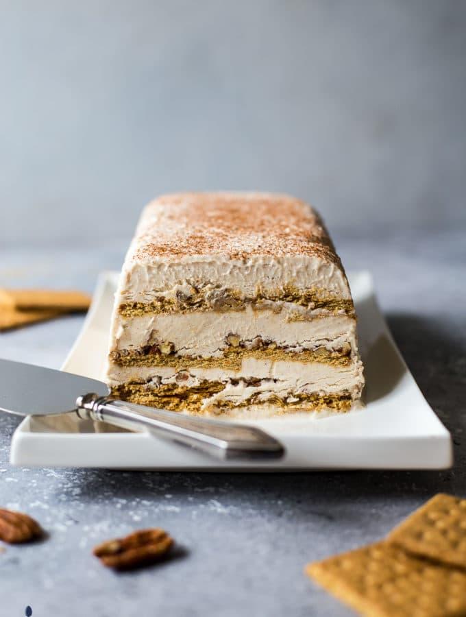 Pecan Cinnamon Roll Ice Box Cake