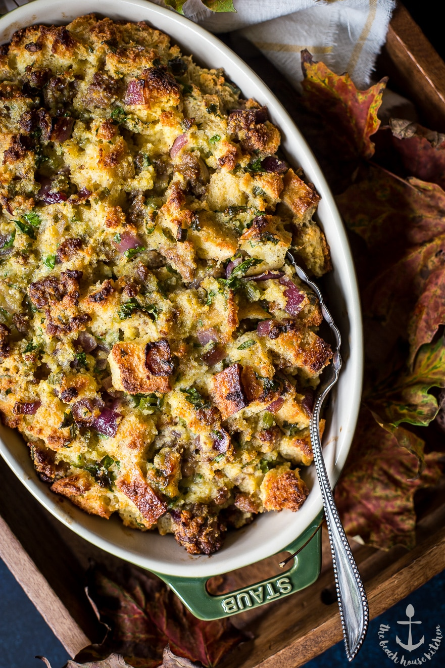 Cornbread and Sourdough Stuffing with Sausage, Red Onion and Fresh Herbs