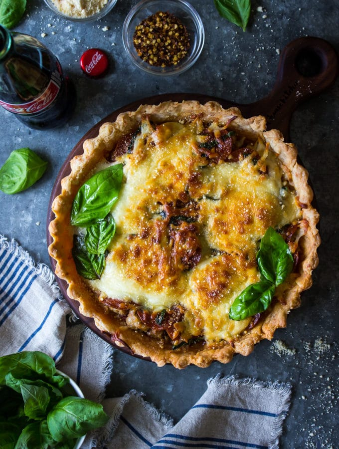 Pepperoni and Sausage Pizza Tart with Parmesan Crust