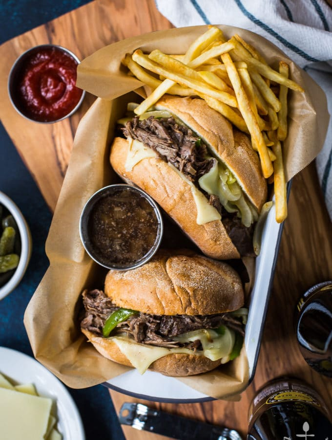 Philly French Dip Sandwiches with Peppers, Onions and Deli White American Cheese