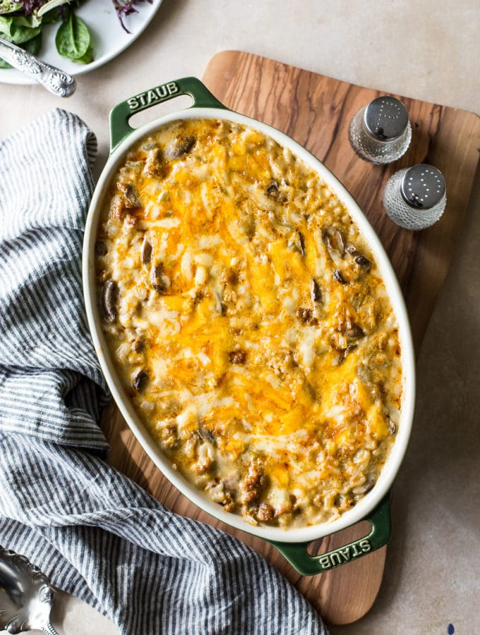 Cheesy Spicy Sausage Rice Bake