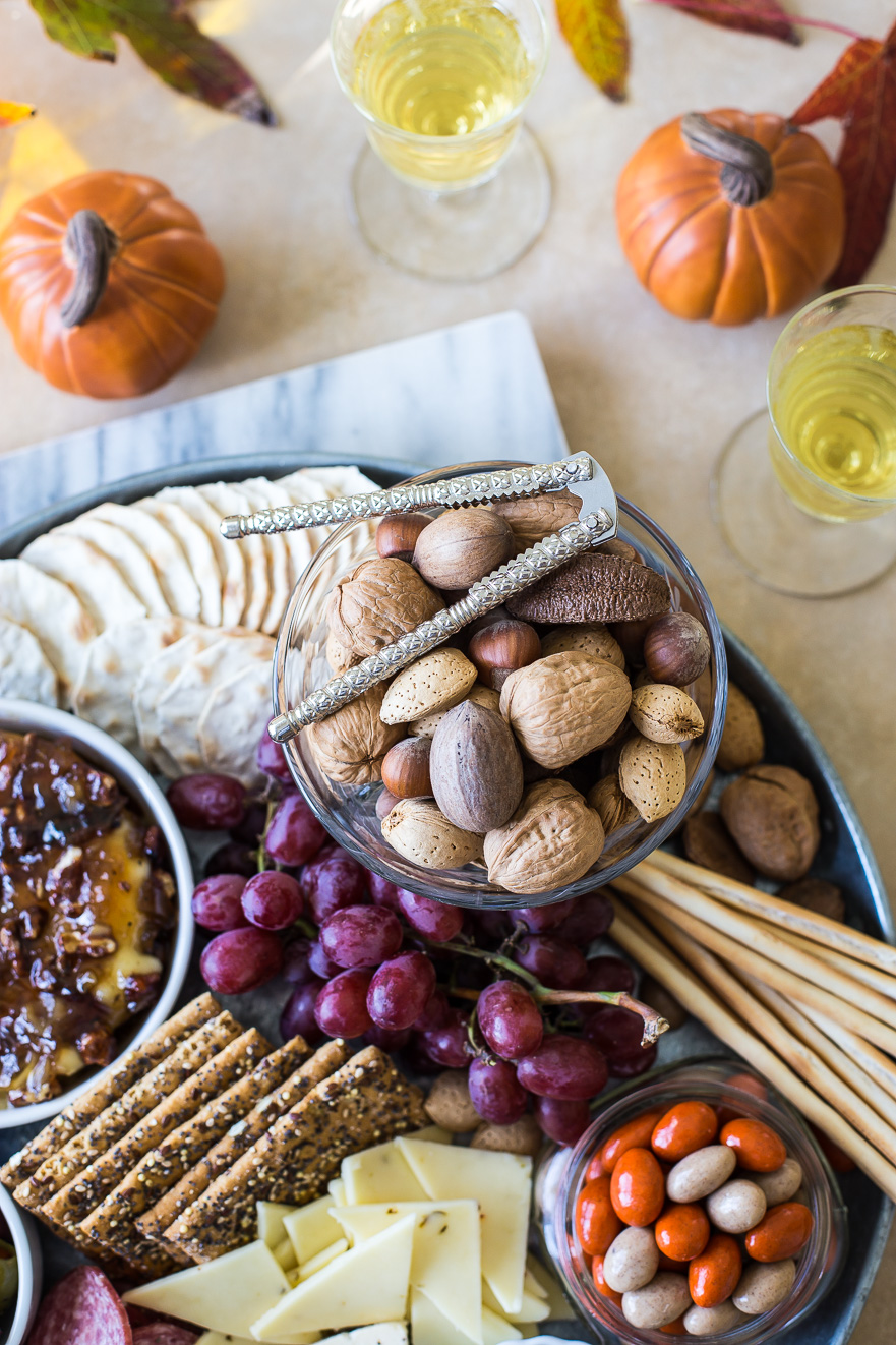 Holiday Cheese Board with Bacon Onion Jam with Glazed Pecans Baked Brie
