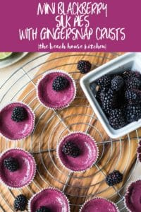 Mini Blackberry Silk Pies with Gingersnap Crusts