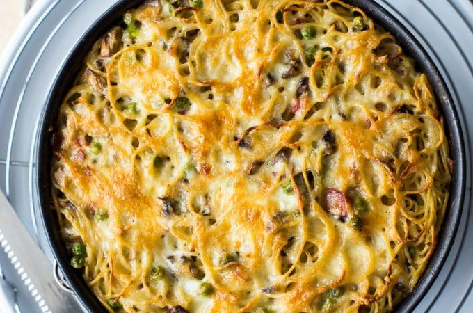 Spaghetti Pie with Mushrooms, Peas and Pancetta