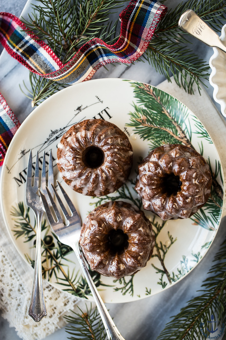 Mini Gingerbread Bundt Cakes with Maple Glaze