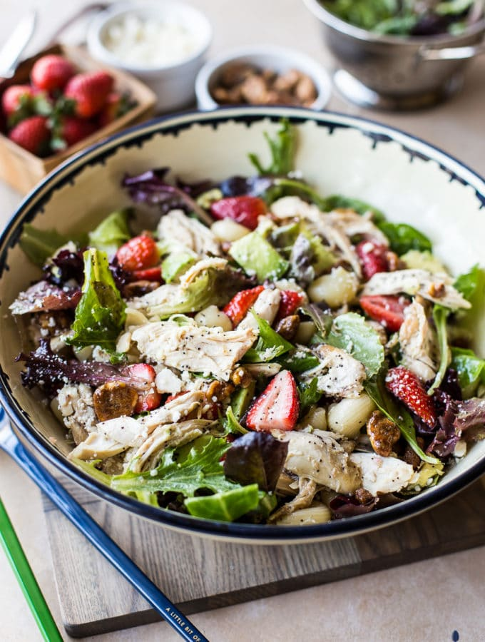 Chicken Strawberry Avocado Pasta Salad with Creamy Poppyseed Dressing