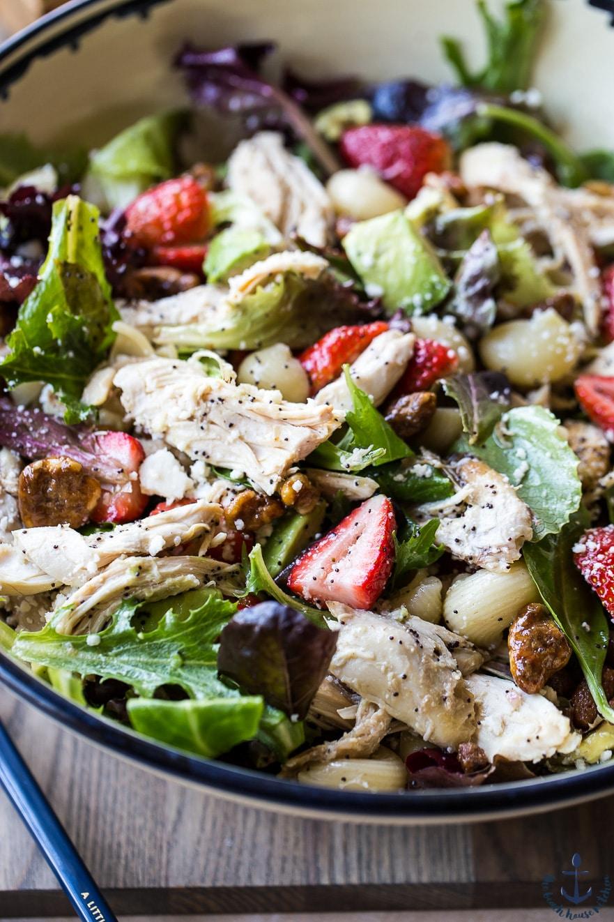 Chicken Strawberry Avocado Pasta Salad with Creamy Poppyseed Dressing