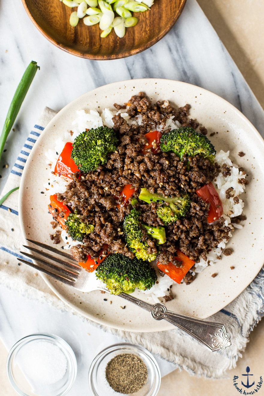 Korean Ground Beef with Broccoli and Peppers