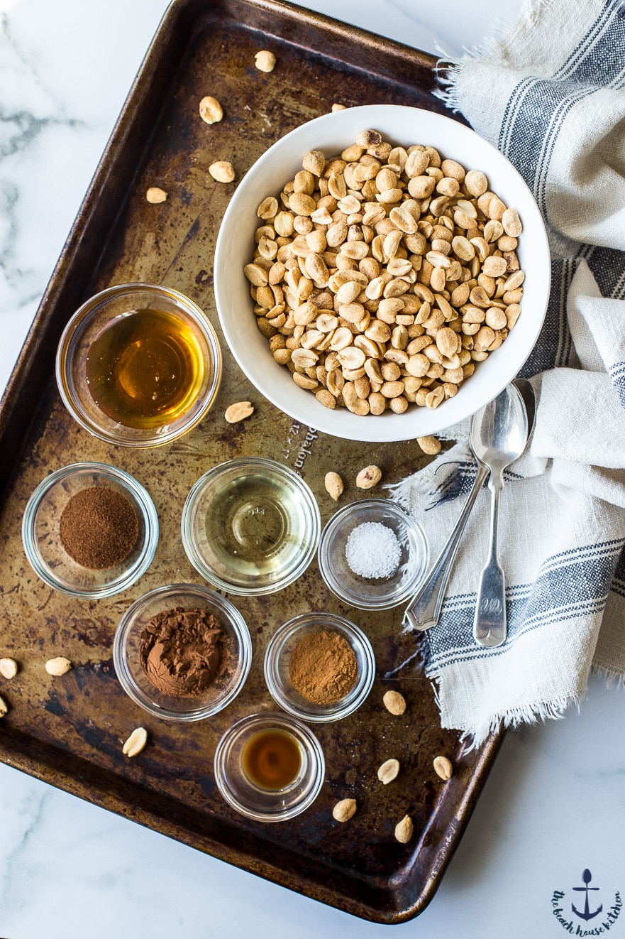 Overhead photo of ingredients for cappuccino peanut butter in bowls on cookie sheet