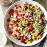 Overhead photo of Greek Couscous Salad