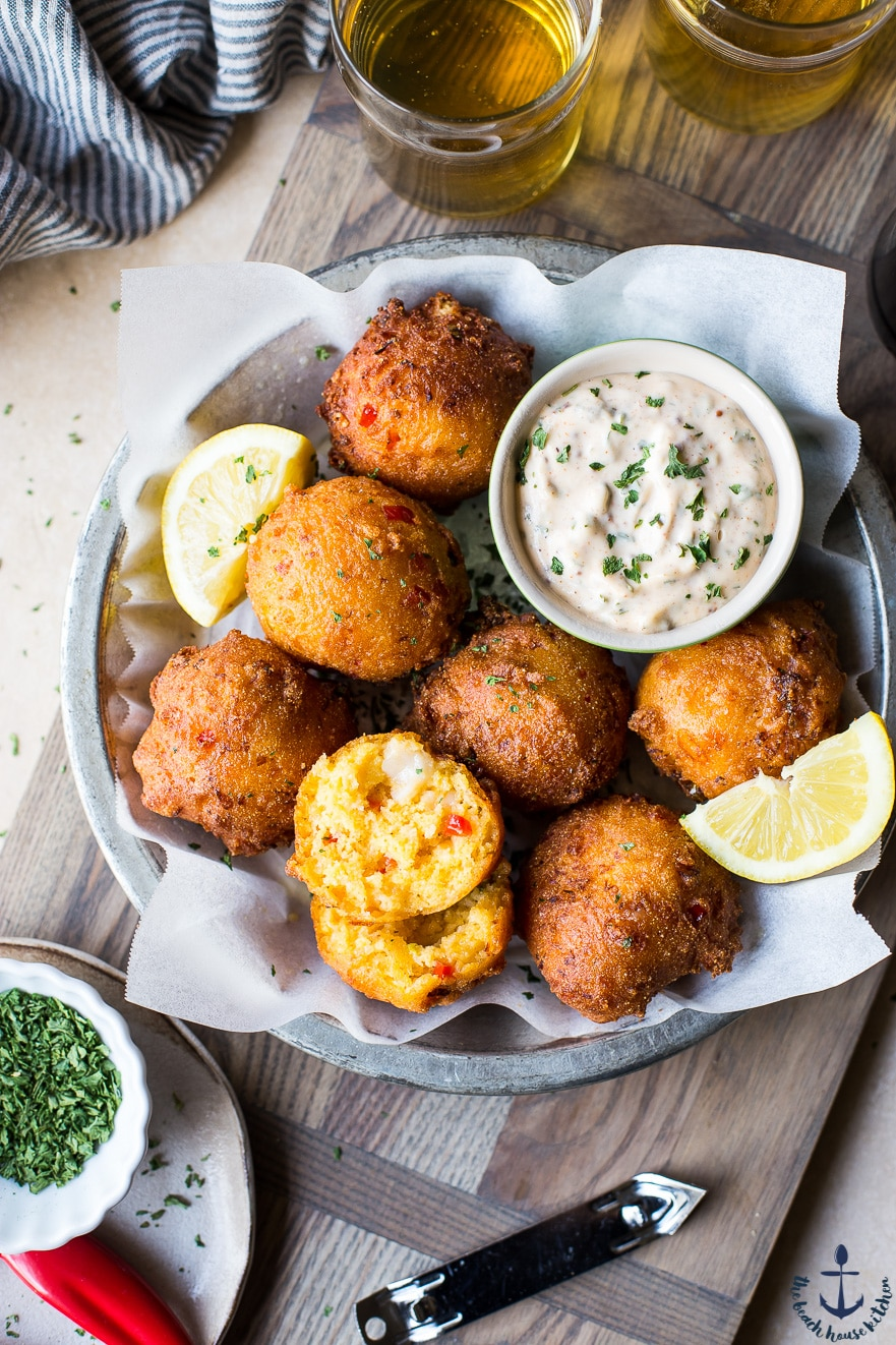 Overhead photo os Lobster Hush Puppies with Creole Remoulade