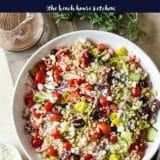 Overhead photo of Greek Couscous Salad
