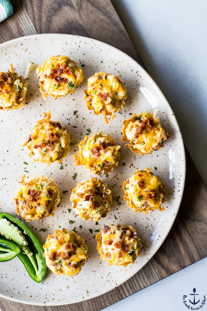 Overhead photo of Jalapeno Popper Pastry Bites on a plate.