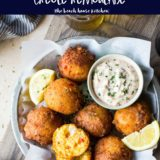 Overhead photo of lobster hush puppies with creole remoulade