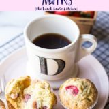 Strawberry lemon Muffins on a pink plate with a cup of coffee