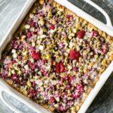 Overhead photo of raspberry pistachio magic bars