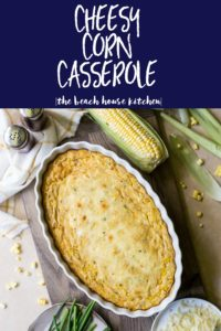Overhead photo of large pin for cheesy corn casserole