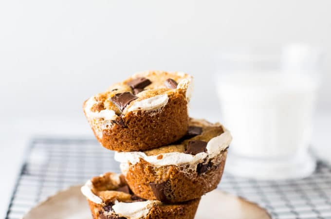 Stack of s'mores cups on a plate
