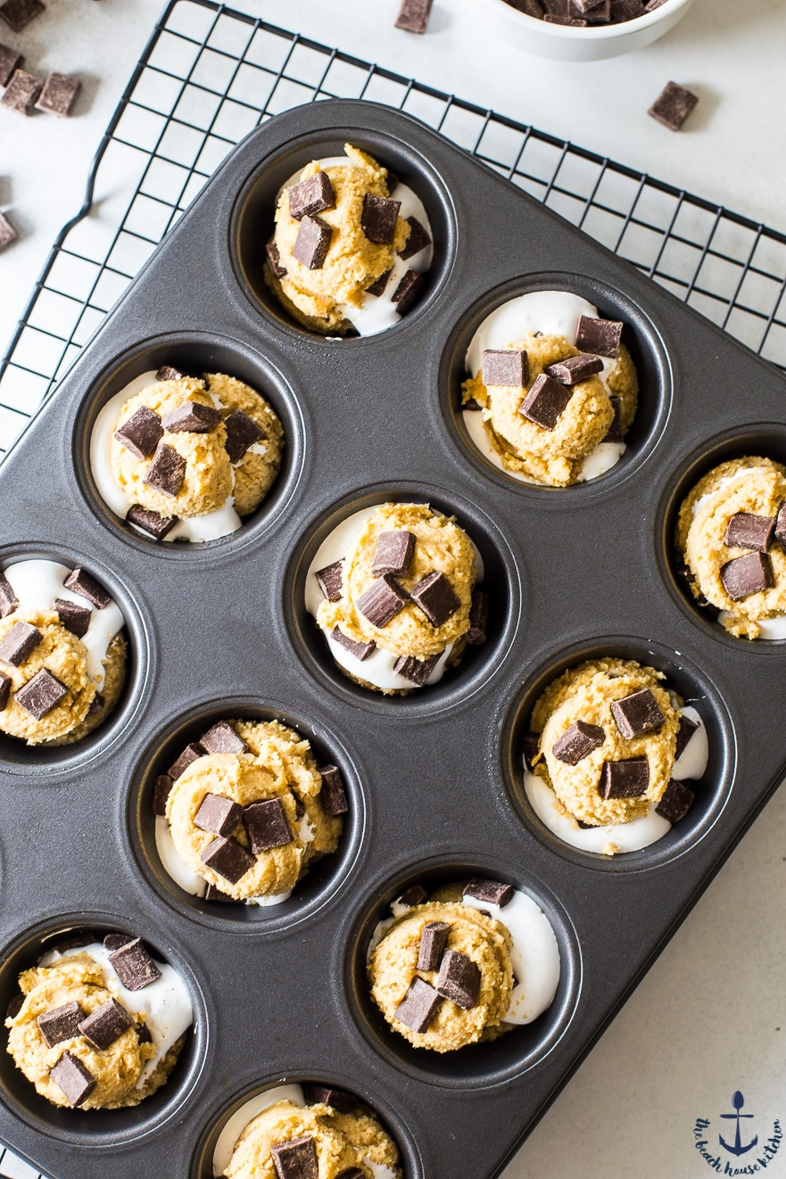 Overhead photo of s'mores cups batter in muffin tin