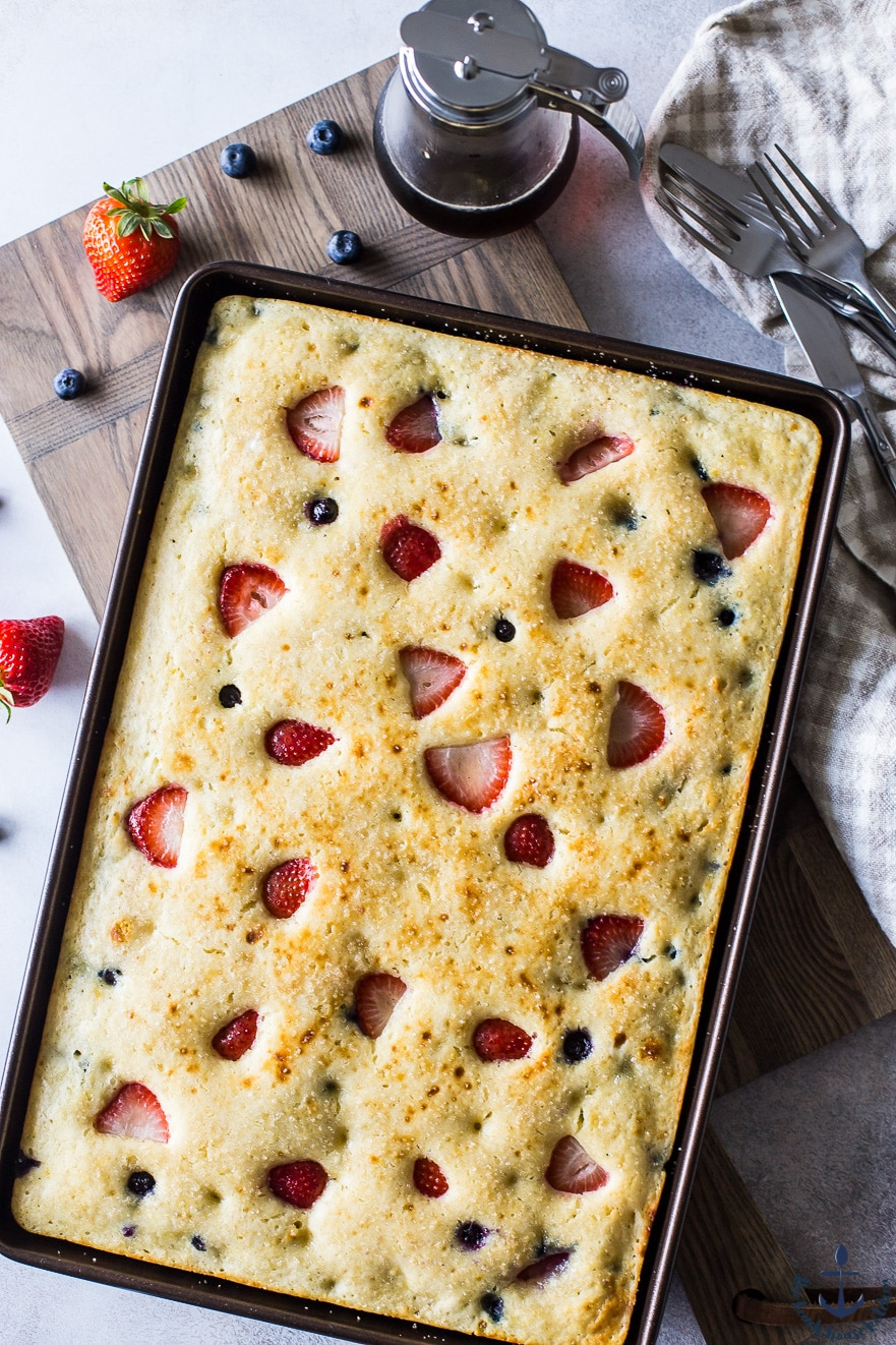 Overhead photo of berry buttermilk sheet pan pancakes