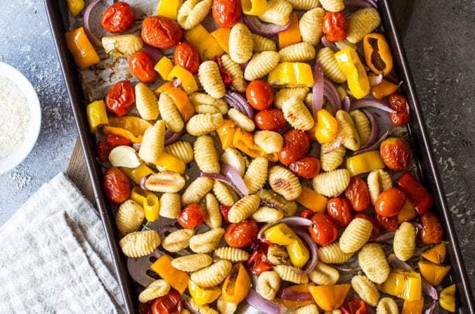 Overhead photo of sheet pan gnocchi and veggies