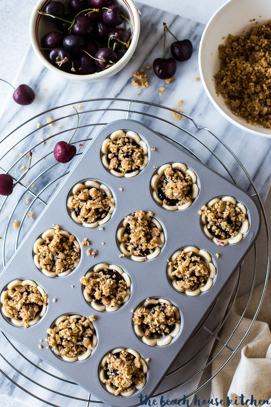 Overhead photo of prebaked streusel topped cherry pie bites