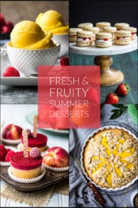 Collage of fresh and fruity summer desserts