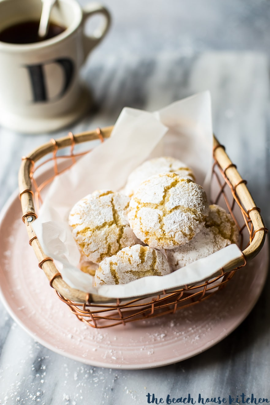 Amaretti cookies in a wire basket