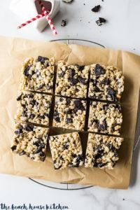 Overhead photo of oreo rice krispie treats cut into squares