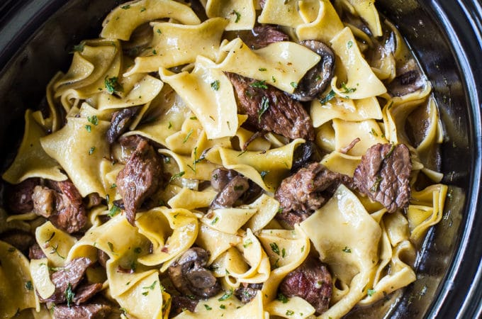 Overhead photo of slow cooker beef and noodles