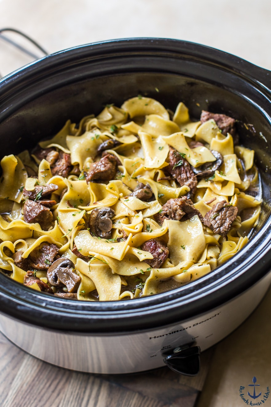 Beef and noodles in slow cooker