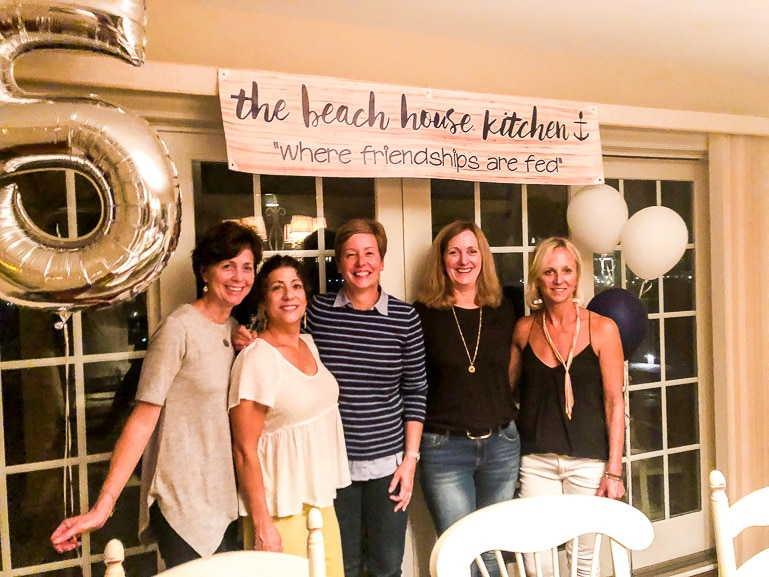 Mary from the beach house kitchen with four of her friends