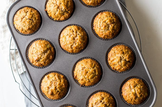 Overhead photo of morning glory muffins in a muffin tin