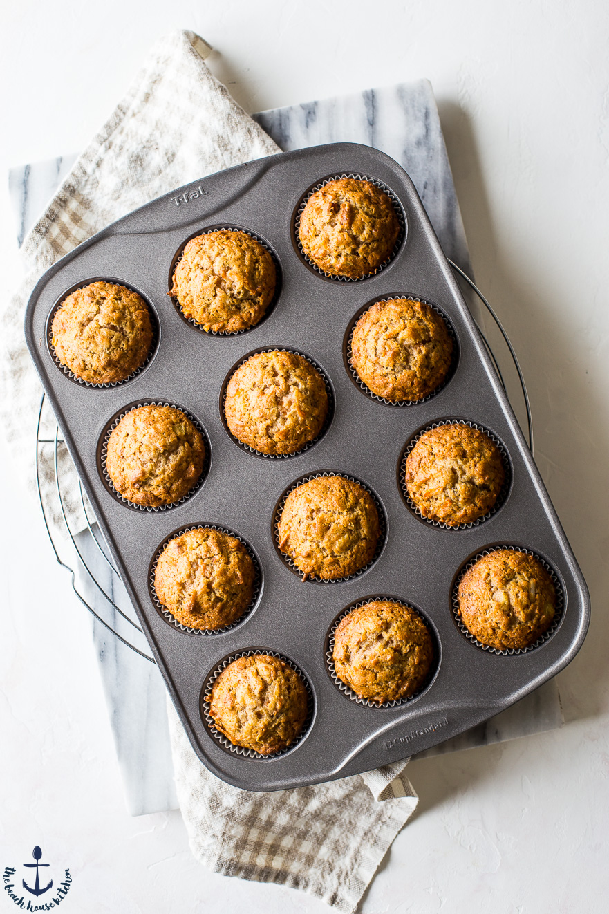 Overhead photo of morning glory muffins in muffin tin