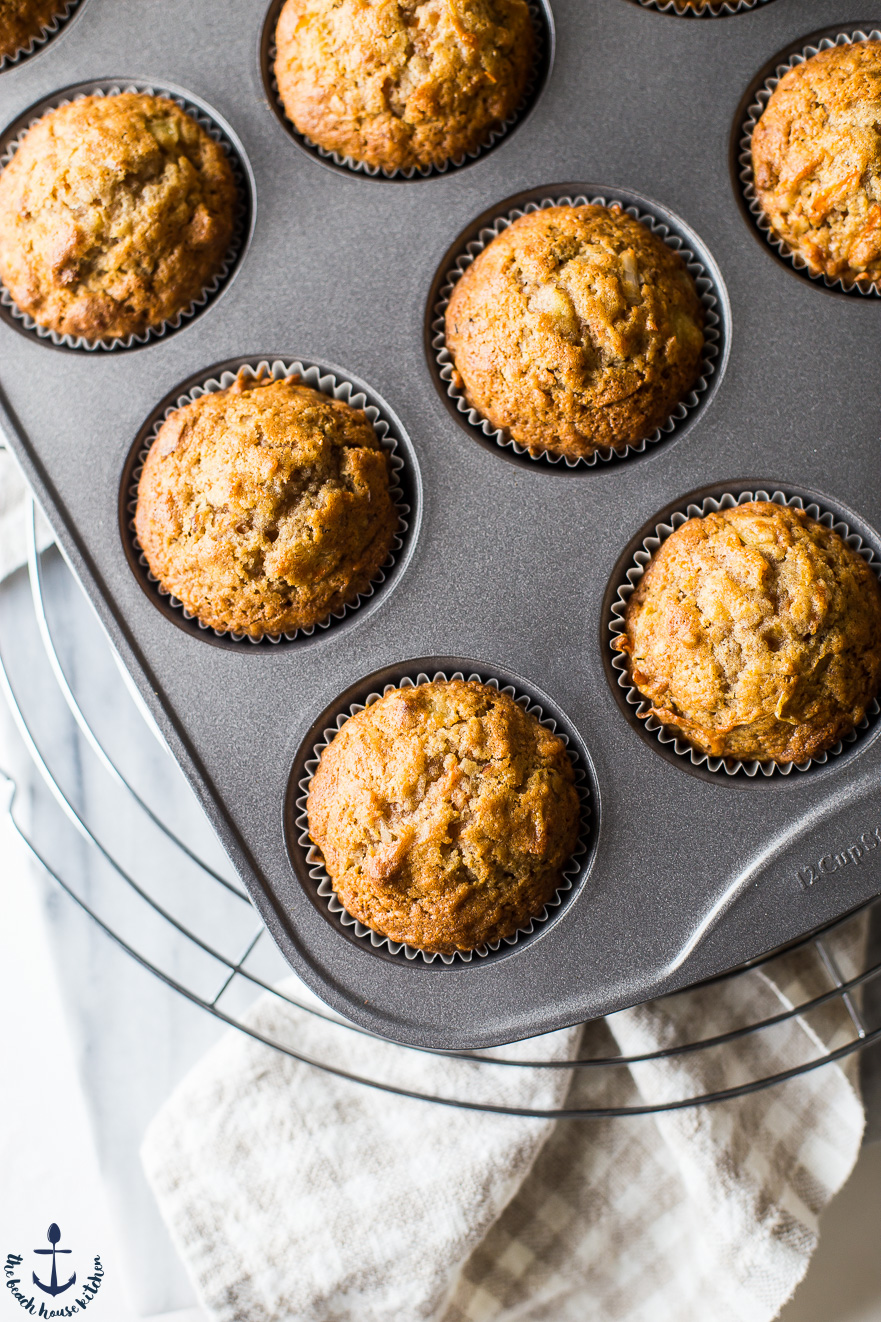 Up close overhead photo of morning glory muffins in muffin tin