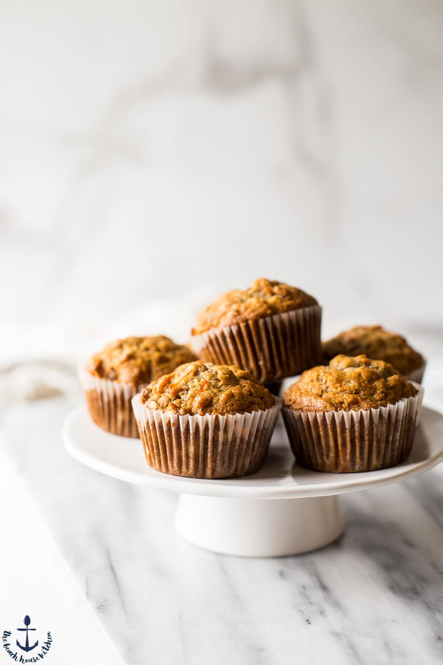 Morning glory muffins on a cake stand